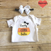 Candy Corn Cutie Onesuit, First Halloween Outfit, Baby Girl Halloween Outfit, 1st Halloween Onesuit, Halloween Baby, Personalized, Hair Bow