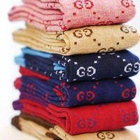 One-nice™ GUCCI tide brand in autumn and winter tube socks College wind Gaotong letter knit piled cotton I