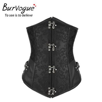 Burvogue Waist Control Corsets and Bustiers corpetes e espartilhos Sexy Women Underbust Corselet  Steel Boned Western Corsets