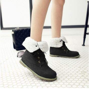 Round Toe Solid Color Lace Up Flat Half Snow Boots