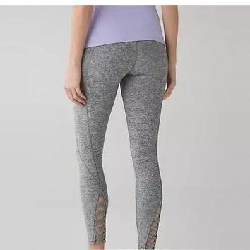 lulu LULULEMON bottom hollow out yoga pants high waist for women Gray