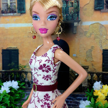 Barbie Doll Clothes Handmade - Light Beige Dress with Burgundy Floral Print, Belt, and White Shoes