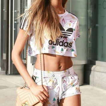 LMFON Adidas Print Short sleeve Cami Crop Top Shorts Sweatpants Set Two-Piece Sportswear