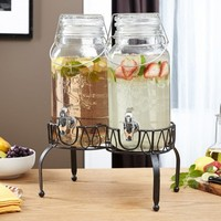 Double Spouted Cold Beverage Dispensers, with stand