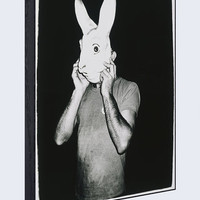 "Man With Rabbit Mask, c.1979 44""x32"" Wood Framed Print"