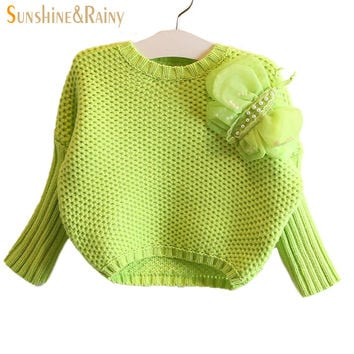 2015 New Girls Western Style Three-Dimensional Bow Girls Long Sleeve Knit Sweater Children Pullovers Baby Sweater
