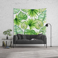 tropical leaves Wall Tapestry by sylviacookphotography