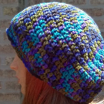 Ready to Ship - Slouchy Beanie - Womens Hat - The Eden in Peacock Stripe