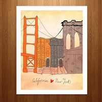 California & New York Art Print