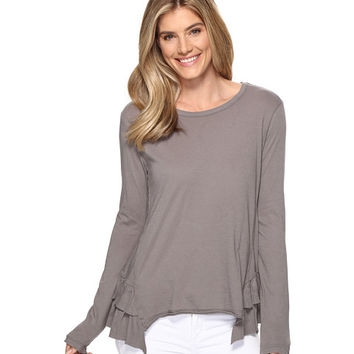 Dylan by True Grit Vintage Soft Cotton Long Sleeve Double Ruffle Tee