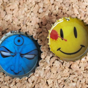 Watchmen Bottle Charms - upcycled jewelry necklace dr manhattan blood stain smiley face OOAK geekery FREE shipping to United States