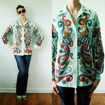 VINTAGE 1960s Psychedelic PAISLEY Blouse Colorful Swirls Mint Green
