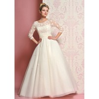 Winter Vintage Lace Full Length Wedding Dress
