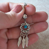 Dream Catcher Belly Ring with Turquoise Bead Accent and Feathers