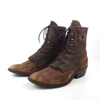 Roper Boots Vintage 1980s Oiled Brown Leather Cowboy Lace up Packer Men's size 8 1/2