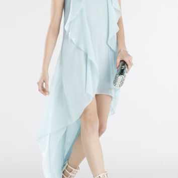 Kelsia Cascade Ruffle Halter Dress - Blue