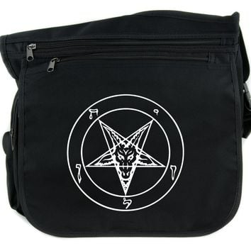 Sigil of Baphomet Cross Body Messenger School Bag Occult Inverted Pentagram