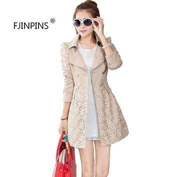 Women Jacket Stylish New Autumn Coat Korean Slim Lace Long Section of Women's Windbreaker