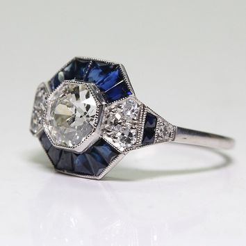 Womens Antique Art Deco Jewelry Silver w/ Natural Blue Sapphire Ring