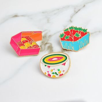 Trendy Cute Cartoon Strawberry Cookies Rainbow Bowl Pins Brooches Denim Jacket Buckle Shirt Badge Gift for Kids girls Food jewelry AT_94_13