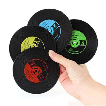 ICIK272 1pcs Table Cup Mat Creative Decor Coffee Drink Placemat Tableware Spinning Retro Vinyl CD Record Drinks Coasters