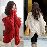 Hot Sale Bat Wing Sleeve Cardigan Loose Thicken Shell Shawl Knitting Women Sweater Coat - 4 Great Colors!