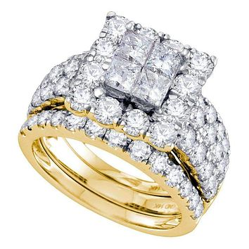 14kt Yellow Gold Women's Princess Diamond Square Halo 3-Piece Bridal Wedding Engagement Ring Band Set 4.00 Cttw - FREE Shipping (US/CAN)