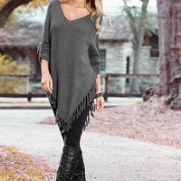Scales Tassels V-neck Plus Size Women's Fashion T-shirts Bottoming Shirt [4966043652]