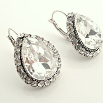 art deco clear crystal rhinestone sterling silver plated by xxyz