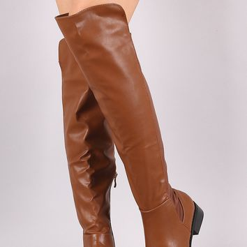 Vegan Leather Gore Panel Back Flat Riding Knee High Boot