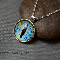 Blue Eye Necklace | Animal Eye Necklace | Cat Eye | Dragon Eye | Iris Pendant Necklace | Silver Chain Necklace