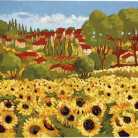 Sunflower Field I Landscape Canvas Wall Art Print by Cecile Broz