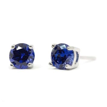 6mm Round Sterling Silver Created Tanzanite Stud Earrings