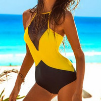 FASHION BACKLESS SPLICING ONE PIECE SWIMSUIT