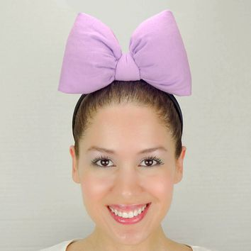 Big Daisy Duck Bow Headband - Lavender