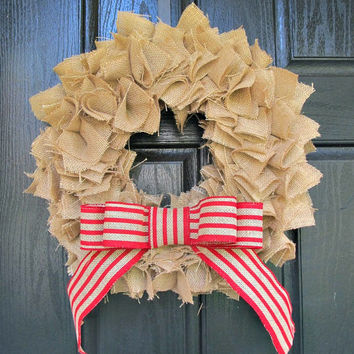 "Burlap Wreath With Striped Red Bow - 18"" - Cottage Chic, Year Round, Front Door, Home Decor"