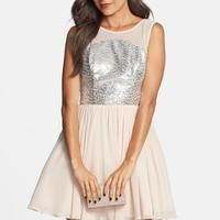 Junior Women's Way-In Sheer Yoke Fit & Flare Dress