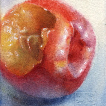 "Artist Trading Card ACEO Original watercolor painting, fruit, ""Bitten Nectarine"""