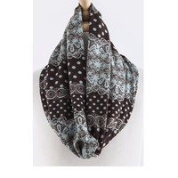 Mint Lace & Polka Dot Printed Infinity Scarf