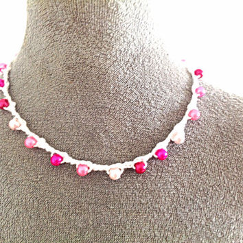 Crocheted white and pink necklace
