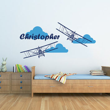 Airplane Wall Decal Name Vinyl Sticker Personalized Custom Name Biplane Clouds Decals Plane Kids Children Name Nursery Boys Room Decor AN601