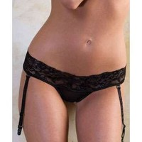 iCollection Lingerie Plus size Lace garter-thong