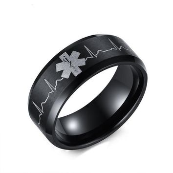 Stainless Steel Heartbeat Medical Ring