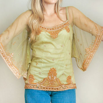 Ethnic Beaded Sheer Angel Sleeve Blouse | Womens Size Medium Large Bohemian Gypsy Caftan Indian Dashiki Pale Green 70s Bohemian Peasant Top