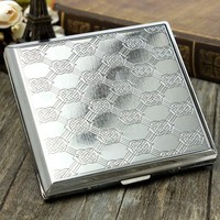 Metal Cigarette Case Box Holder Holds 20pcs Cigarettes Silver Tobacco Cigarette Holder Storage Container Case Pocket-Box Gifts