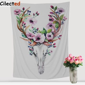 Cilected Bohemia Deer Head Printed Mandala Tapestry India Decorative Wall Hanging Tapestries 148X200Cm Hanging Towel Home Decor
