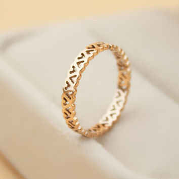 womens retro hollow out heart-shaped rose gold ring tail ring gift-146