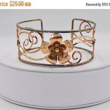 ON SALE Vintage Krementz 14K Gold Overlay Flower Cuff Bracelet, Two Tone, Scroll, Floral, Bangle, So Pretty! #b330