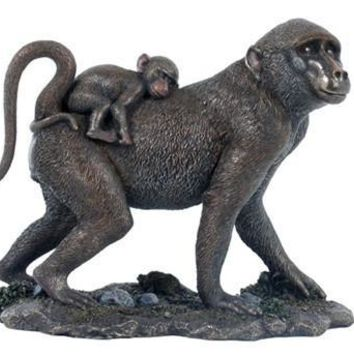 Mother Baboon Carrying Baby Bronze Statue - 8365