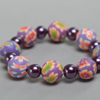 Handmade polymer clay wrist bracelet with beads stretchy for children